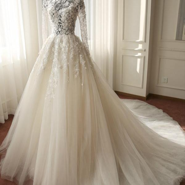 2017 Long Sleeve Wedding Dresses Beaded 3D-Floral Applique Sheer Neck Cathedral Train Tulle Jewel Collar Hollow Back New Bridal Gown Vestido