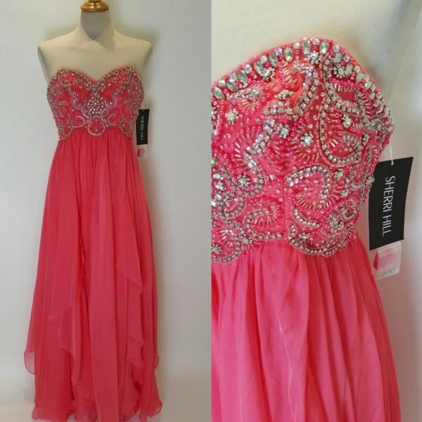 Modest Coral Prom Dresses 2016 Long Sweetheart Empire Floor length Evening Formal Dress Gowns Cheap