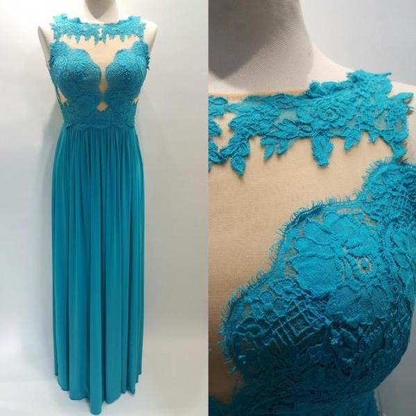 New Teal Prom Dresses 2016 Chiffon 5207 Sheer Neckline , See Through Designer Evening Dresses , Long Formal Dresses