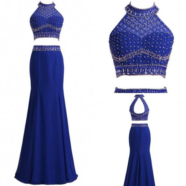 royal blue evening dresses,long prom dress,two pieces dress,two pieces evening dress,beaded dress,beaded evening dress