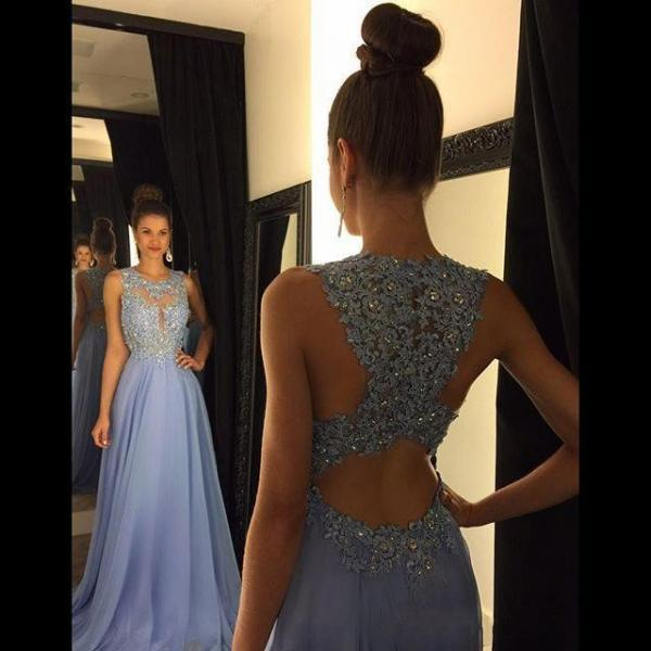 2018 Long Prom Dress With Appliques And Crystalk Backless Jewel Neck Chiffon Dress Special Occasion Dress Elegant Style Plus Size