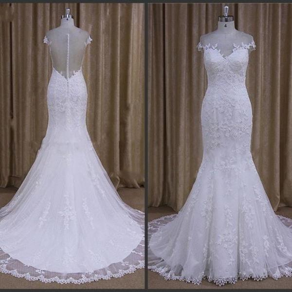 Off-shoudler Wedding Dress 2016 Full Appliques Sheath Style Sweep Train Iullsion Back Covered Bottons Custom Made Mermaid Bridal Dress