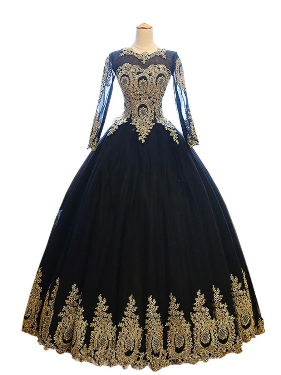 Vintage Ball Gown Black Gold Lace Quinceanera Evening Prom Dresses With  Illusion Long Sleeves 2018 Corset Back Sweet 16 Girls Party Dresses Cheap