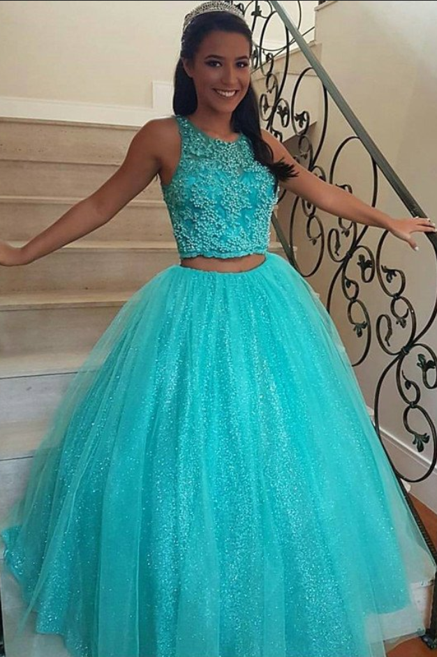 Turquoise Ball Gowns Promtwo Pieces Graduation Dressespearls