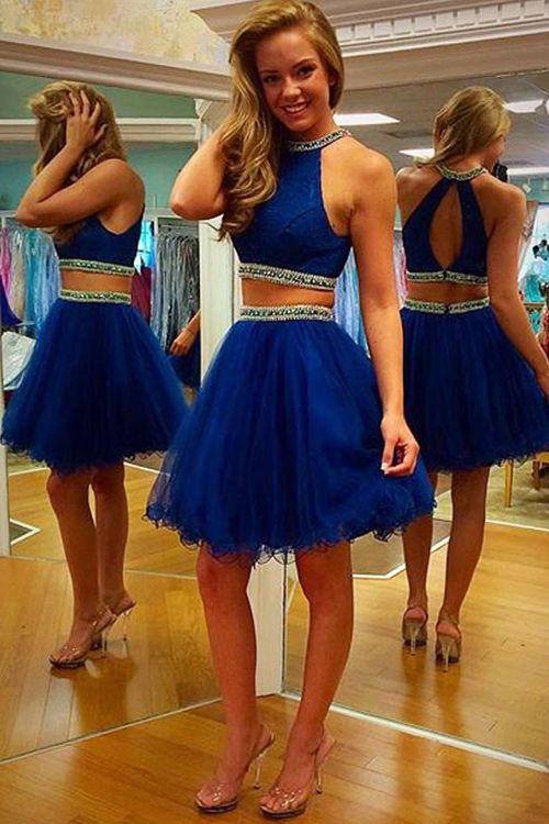Two Pieces Graduation Dresses Royal Blue Prom Cocktail Gown Formal